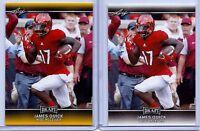 JAMES QUICK 2017 LEAF DRAFT GOLD 2 CARD ROOKIE LOT! WASHINGTON REDSKINS!