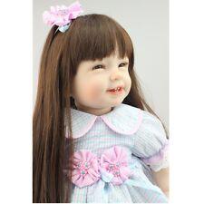 "22"" Lifelike Bambole Reborn Long Hair Girl Dolls Silicone Vinyl Handmade gift"