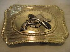 OLD GOLD COLOR COWBOY HAT GUN BELT BUCKLE CLOTHING