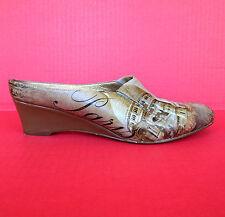 Icon Paris Nicah-1 Wedge Shoes 8.5 Leather Mules Clog Slide Art Noveau Wear Art