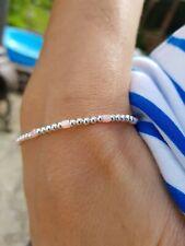 Pink Seed Bead Sterling Silver Stretch Bracelet, Stack Bracelet, Bridesmaid