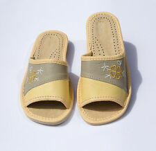 NEW WOMEN`S NATURAL LEATHER SUMMER SLIPPERS