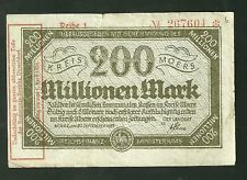 1923 Germany Moers 200 Millionen Mark Currency Note 3593Q Paper Money