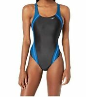 $190 Speedo Women's Black Blue Quantum Splice Racerback One-Piece Swimsuit Sz 10