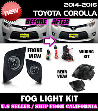 for TOYOTA 14 15 16 COROLLA Fog Light Driving Lamp Kit w/ switch wiring (CLEAR)
