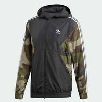 New Adidas Originals Camo Windbreaker Camouflage Black GYM Jacket Hoodie DV2049