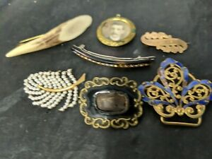 Antique Victorian Rolled Gold Mourning  Brooch.and other