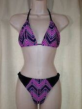 BRAZILIAN CUT SUIMSUIT SET TRIANGLE TOP AND THONG BOTTOM MULTICOLOR SIZE M