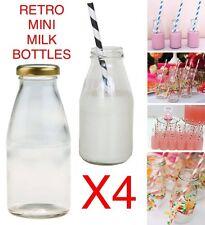 4x PACK 250ml Retro School MINI MILK Glass Bottles VINTAGE HOME WEDDING PARTY