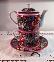 Vera Bradley Tea for One Poppy Fields Tea Set New! No Box