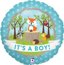 Its a Boy Foil Balloon 45cm (18in) Cute Woodland Animals Design Holographic