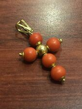 Gold and Coral Crucifix/Cross Pendant