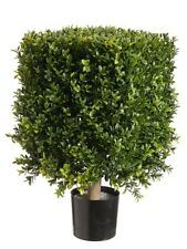 "21"" Square Boxwood Artificial Topiary in Pot Tree plant Indoor Outdoor Patio 221"