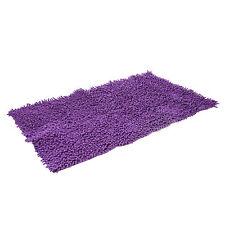Tapis de salle de bain chenille Violet  100% coton 1500 g/m2  Méches Franges