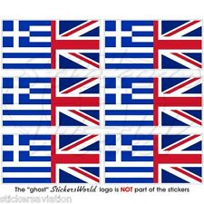 GREECE Greek-UK Union Jack Flag 40mm Mobile Cell Phone Mini Stickers, Decals x6
