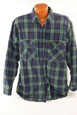 LL BEAN INSULATED FLANNEL SHIRT BLUE & GREEN PLAID MEN'S LARGE L