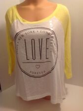 Victorias Secret PINK Love Forever Crop Oversize T Shirt White Yellow S NWT