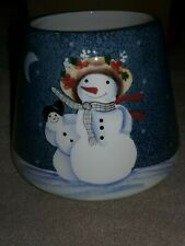 Vtg HOME INTERIORS Large Snowmen Christmas Tree Candle Jar Shade/Topper New