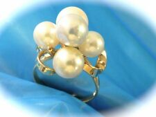 VINTAGE 18K YELLOW GOLD SALTWATER JAPAN FINE 7.5MM PEARL CLUSTER RING SZ 5.75