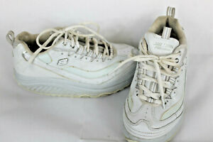 Sketchers Shape Ups Womens Size 6 White Leather Fitness Toning Shoes 11800