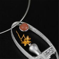 Elegant Natürliche Mondstein Echt 925 Silber Vase Anhänger für Damen Schmuck