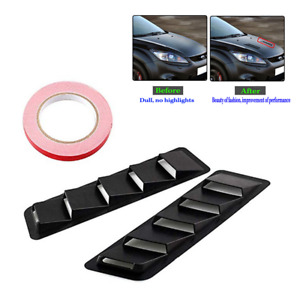 2pcs ABS Black Hood Vent Louver Cooling Panel Trim Set For Car SUV Pickup Truck