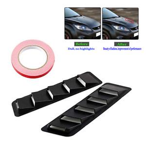 2pcs ABS Black Hood Vent Louver Cooling Panel Trim Set For Car SUV Pickup Truck