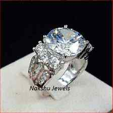 Moissanite Ring 3.00Ct Off White Round Cut Engagement 925 Sterling Silver Ring
