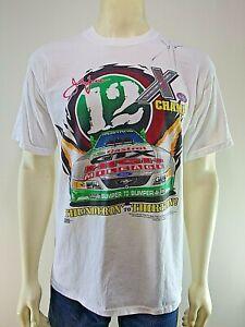 NHRA JOHN FORCE Signed 2003 White T-Shirt S/S Crew Cotton Screen Print Signature