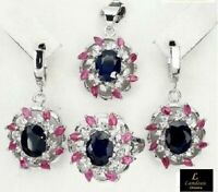18 ct Sapphire Ruby Silver Ring, Earrings, Pendant Set