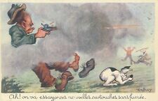 POSTCARD  COMIC  Rabbit  Hunting  ( French)