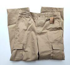 Lands End Boys 12 NWT Khaki Cargo Pants 100% Cotton Adj Waist LH1-73
