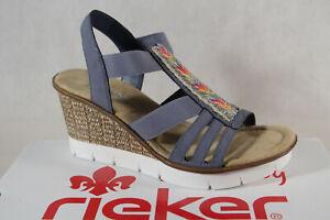 Rieker Femmes Sandalettes Sandales Bleu 65568 Semelle Compensée Neuf