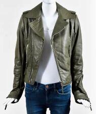Balenciaga Olive Military Green Leather Zipped Moto Jacket SZ 42 Classic!