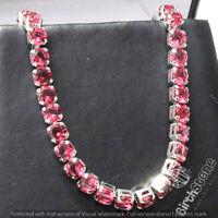 Classic Round Ruby Tennis Bracelet 18k Gold Plated Women Gemstone Jewelry Gift