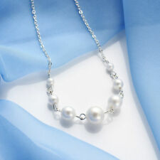 Simple Stylish Gift Silver Chain 7 Pearls Choker Collar Bib Clavicle Necklace