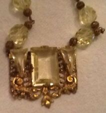 Art Deco Czech Citrine Yellow Glass Gilt Tone Filigree Signed Necklace