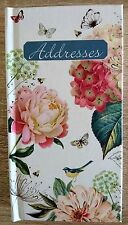 Address Book A - Z Tabs Hardback Hydrangea Rose Bird Butterfly Floral 17 x 9 cm