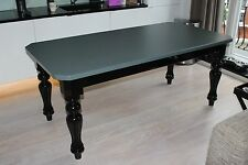 6-8 seater, 6' x 3' modern Victorian style Dining table, gloss black & grey