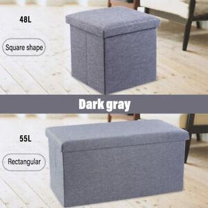 Home Simple stylishFabric Foot Stool /Sofa with Storage Grey Capacity 48L/55L