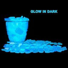 100PCS Glow In The Dark Blue Stones Pebbles Luminous Garden Aquarium Fish Tank