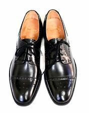 CHURCH'S Black Calfskin Semi-Brogue Medallion Cap Toe Oxfords Size 8.5 D NEW