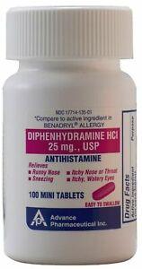 Diphenhydramine 25 mg Generic Benadryl Allergy Antihistamine 100 Mini Tablets