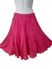 Atmosphere UK 10 Vibrant Pink Cotton Flared Midi Skirt Summer Holiday Beach Work