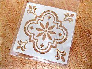 Mediterranean No.5 Tile Crafting Stencil Washable Reusable Mylar 10cm or 15cm