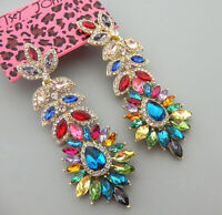 Betsey Johnson Multi-Color Glass Crystal Leaf Flower Dangle Stud Earrings