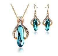 Fashion gold plated crystal long drop pendant necklace earrings jewelry set