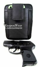 Small Pistol Pack Belt Holster Black Leather Unisex Concealment Concealed Carry