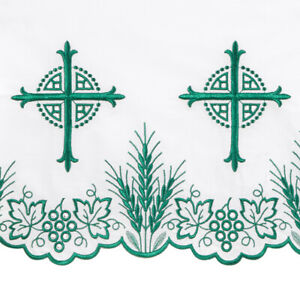 """Green Embroidered Bread of Life Altar Frontal 50"""" x 96"""""""