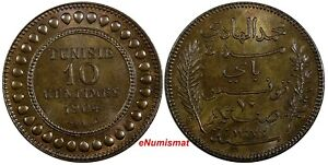 Tunisia Muhammad IV Bronze 1904 A 10 Centimes UNC Nice Toned KM# 229 (19 061)